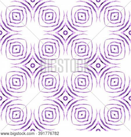 Summer Exotic Seamless Border. Purple Exotic Boho Chic Summer Design. Textile Ready Mind-blowing Pri