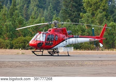Prospect,  Oregon / Usa - September 13, 2014:  A Small Rescue Helicopter Is On Standby At The Prospe
