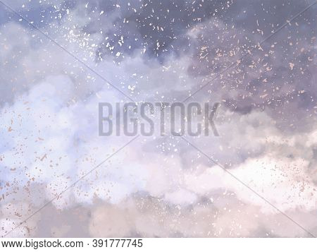 Soft Pink And Blue Clouds Design Background. Glamour Fairytale Backdrop. Plane Sky View With Stars A