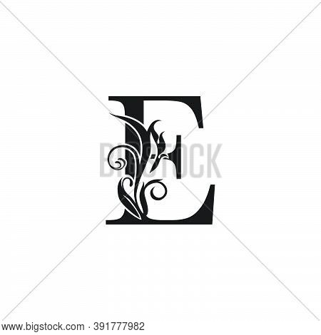 Monogram Luxury Letter E Logo Icon. Simple Luxury Design Concept Floral Leaves With Letter E Logo Ic