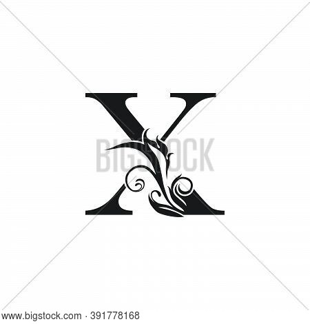 Monogram Luxury Letter  X Logo Icon. Simple Luxury Design Concept Floral Leaves With Letter X Logo I