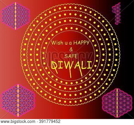 Happy Diwali Festival With Diya Lamp, Diwali Holiday Background With Rangoli, Diwali Celebration Gre