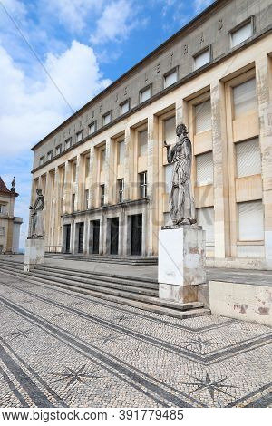 Coimbra, Portugal - May 26, 2018: Faculty Of Humanities At University Of Coimbra In Portugal. Coimbr