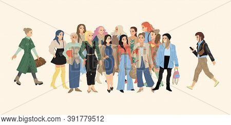 Crowd Of Girls, Women In Different Clothes. Print Shopping, Feminism Characters, Fashion Design. Vec