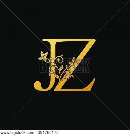 Golden Letter J, L, Jz Luxury  Logo Icon, Vintage Design Concept Floral Leaves With Letter J And Z,