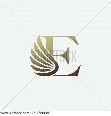 Letter E  Logo Luxury Wing. Trendy Design Concept  Luxury Wing And Letter E For Corporate, Lawyer, N