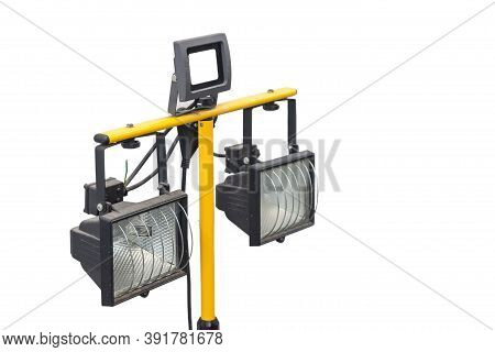 Industrial Led Lighting New Equipment On A White Isolated Black Plastic Background On A Yellow Fauce