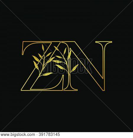 Golden Initial  Z And N, Zn, Nz Letter Logo Icon, Outline Vintage Design Concept Classic Nature Leav
