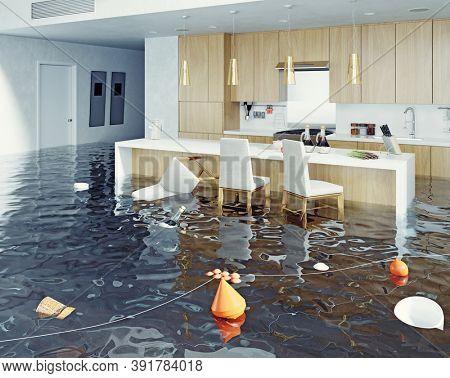 flooding  kitchen interior. 3d rendering idea