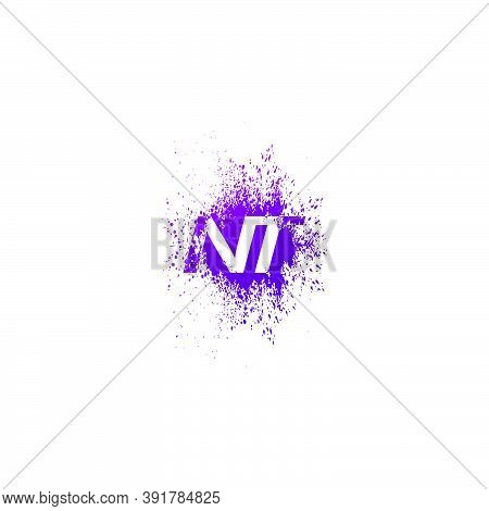 Initial  Letter N And T, Nt Logo Icon Abstract  Ink Spaltter. Purple  Splash  With Hidden Letter Log