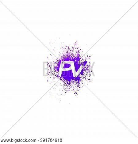 Initial  Letter P And V, Pv Logo Icon Abstract  Ink Spaltter. Purple  Splash  With Hidden Letter Log