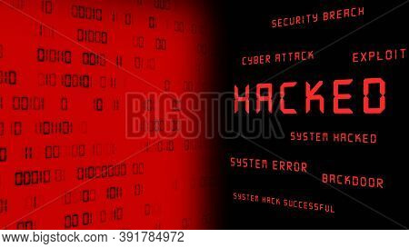 Business Security Concept - Hacked And Other Keywords - Red Warning Lettering On Dark Background Opp