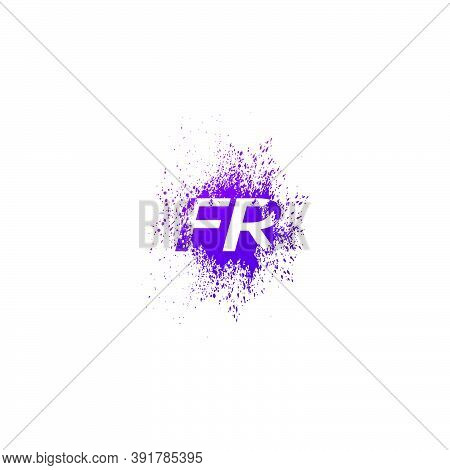 Initial  Letter F And R, Fr Logo Icon Abstract  Ink Spaltter. Purple  Splash  With Hidden Letter Log