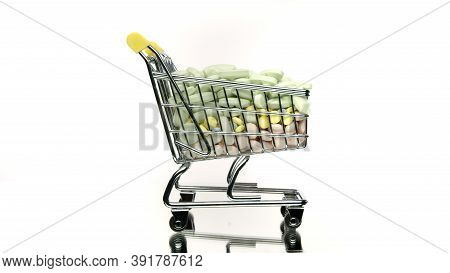 Close Up Shopping Cart With Medicines Rotating Isolated On White Background. Healthcare, Pharmacy, D