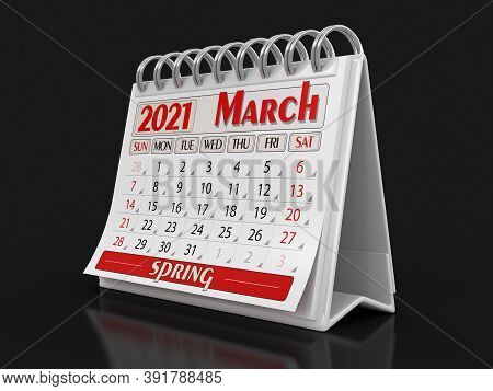 3d Illustration. Calendar -  March 2021  (clipping Path Included)