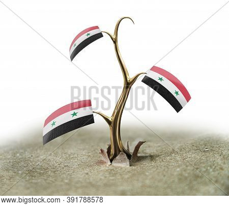 3d Illustration. 3d Sprout With Syrian Flag On White