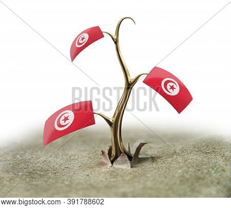 3d Illustration. 3d Sprout With Tunisian Flag On White