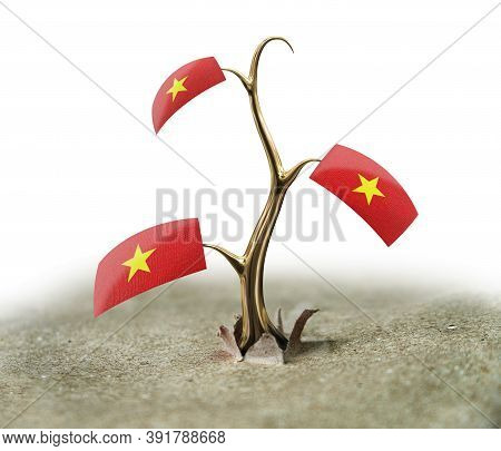 3d Illustration. 3d Sprout With Vietnamese Flag On White