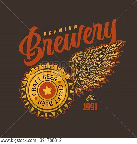 Brewing Colorful Vintage Label With Bottle Cap And Barley Ears In Eagle Wing Shape On Dark Backgroun