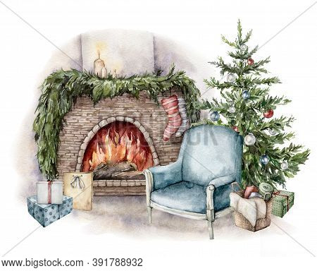 Watercolor Winter Card With Fireplace, Armchair, Gift Boxes And Christmas Tree. Hand Painted Holiday