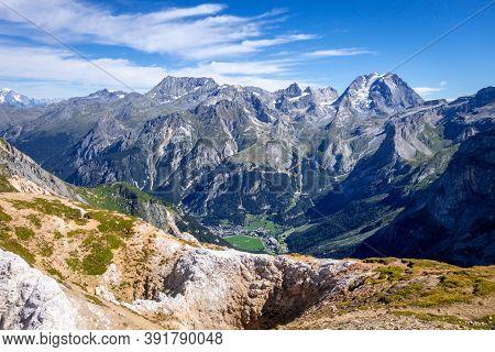 Mountain Glaciers Landscape View From The Petit Mont Blanc Summit In Pralognan La Vanoise, French Al