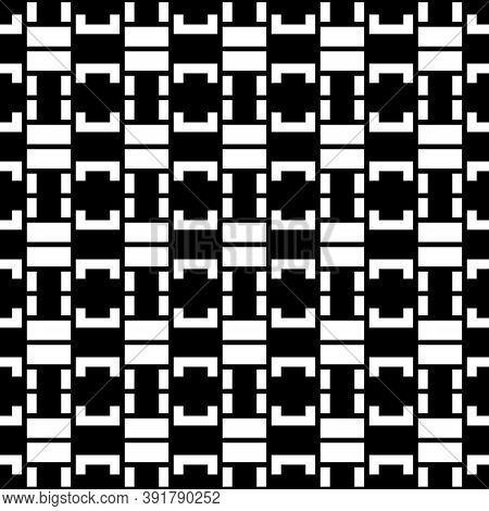 Seamless Surface Pattern Design With Blocks Ornament. Rectangles And Square Brackets Image. Repeated