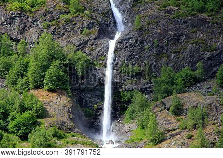 The Waterfall On Sognefjord In The Center Of Norway