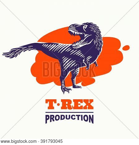 Tyrannosaur Vintage Silhouette Engraved Emblem On Blood Splash. Classic Mascot For Horror Movie Prod