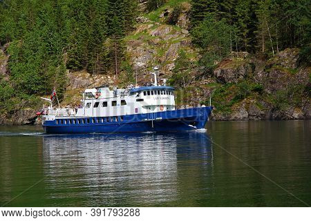 Sognefjord, Norway - 25 Jun 2012: The Ship In The Cruise On Sognefjord And Aurlandsfjord, Norway