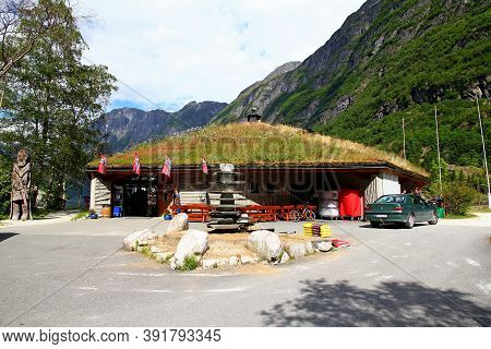 Sognefjord, Norway - 25 Jun 2012: The Gift Shop In The Small Village On Sognefjord, Norway