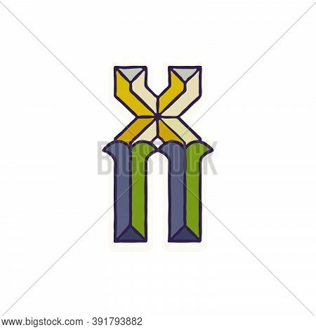 X Letter Logo Faceted With Dim Colors. You Can Use It In Your Corporate Identity, Retro Emblem, Hera