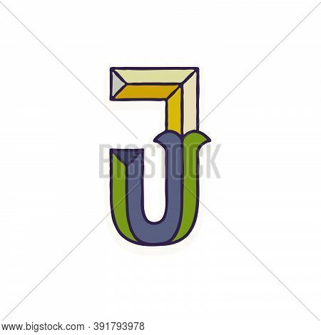 J Letter Logo Faceted With Dim Colors. You Can Use It In Your Corporate Identity, Retro Emblem, Hera