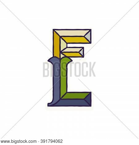 E Letter Logo Faceted With Dim Colors. You Can Use It In Your Corporate Identity, Retro Emblem, Hera