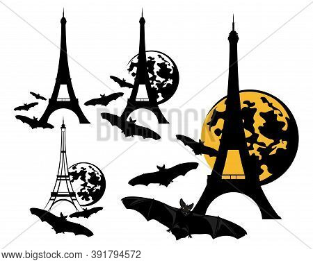 Eiffel Tower With Full Moon And Flying Vampire Bats - Halloween In Paris Vector Design Set