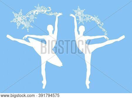 Ballerina Girl With Snowflakes Decor - Winter Season Ballet Dancer Vector Silhouette Set