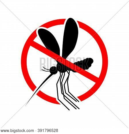 Stop Mosquito. Forbidden Swarm Mosquitoes. Frozen Mosquito Insect. Emblem Against Virus Zika. Emblem