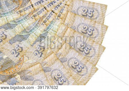 25 Egyptian Piastres Bills Lies Isolated On White Background With Copy Space Stacked In Fan Shape Cl