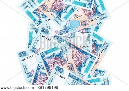 50 Sri Lankan Rupees Bills Flying Down Isolated On White. Many Banknotes Falling With White Copyspac