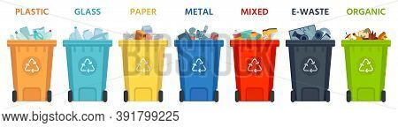 Recycling Bins. Containers With Separated Garbage. Trash Cans For Plastic, Glass, Paper And Organic.