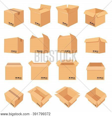Open And Closed Cardboard Box. Delivery Package In Side, Front And Top View. Packaging Process. Cart