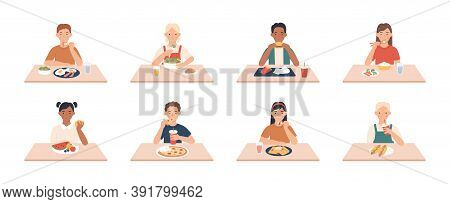 Kids Eat. Boys, Girls Group Eating Meals And Drinks At Table, Enjoying Breakfast, Lunch Children Vec