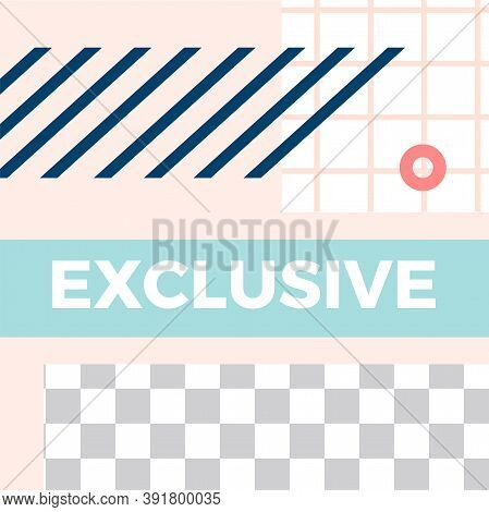 Memphis Style Post. Trendy Abstract Exclusive Social Media Post Template. Vector Memphis Social Excl