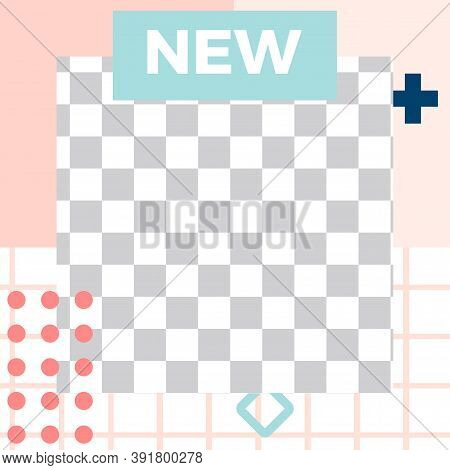Memphis Style Post. Trendy Abstract New Social Media Post Template. Vector Post Abstract Style, Tren