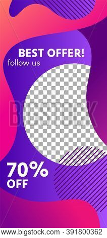 Fluid Shapes Story. Colorful Sale Social Media Story Template. Follow Us And Sale Off Headline, Coll