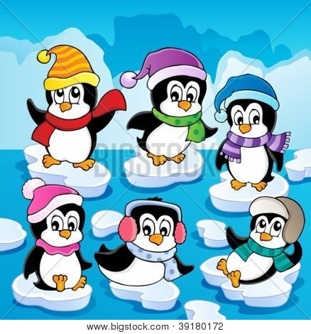 Winter theme with penguins 2 - vector illustration.