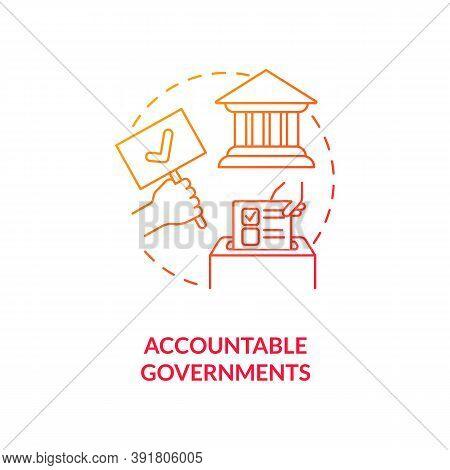 Accountable Governments Concept Icon. Social Change Benefit Idea Thin Line Illustration. Public Offi