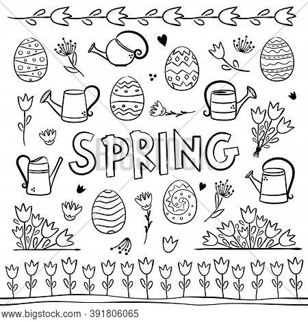 Spring Coloring. Elements For Seasonal Calendar. Hand-drawn Doodle Objects Isolated On White Backgro