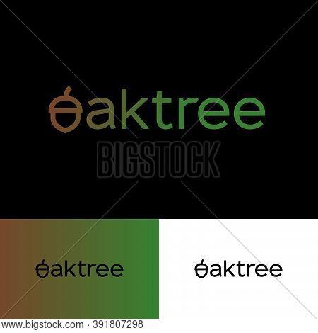 Oak Tree Logo. Letter O As Oak Fruit. Logo Acorn Can Used For Web Icon, Nature Products, Ecology Sym