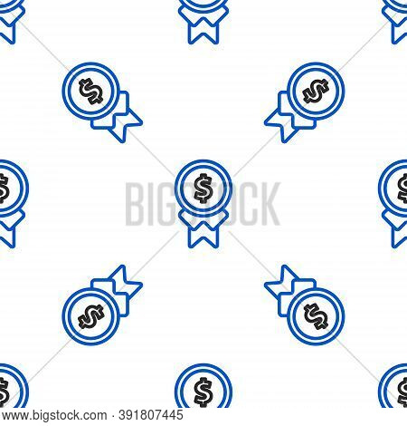 Line Reward For Good Work Icon Isolated Seamless Pattern On White Background. Employee Of The Month,