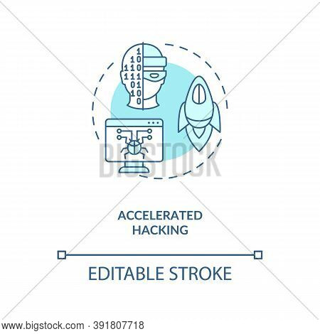 Accelerated Hacking Concept Icon. Stealing Lots Of Information. Cybersecurity Future Problems. Ai Th